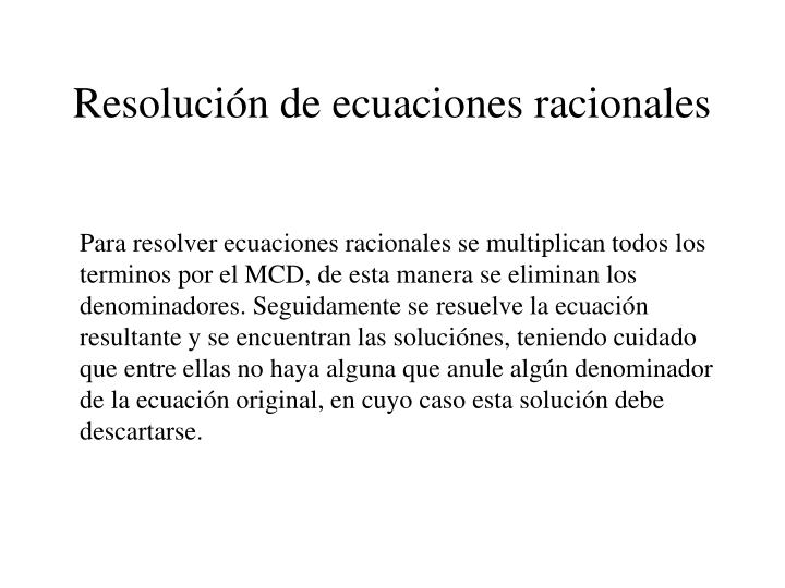 Resolución de ecuaciones racionales