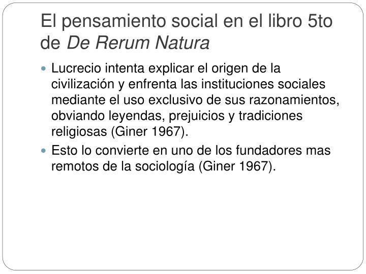 El pensamiento social en el libro 5to de
