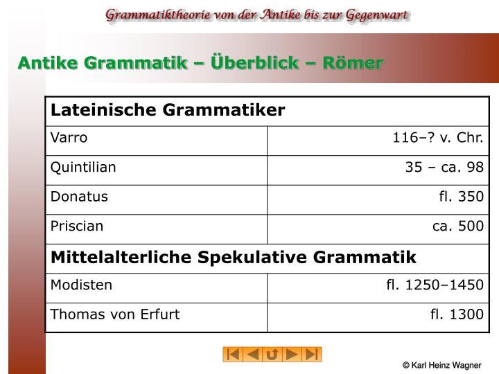 Antike grammatik berblick r mer