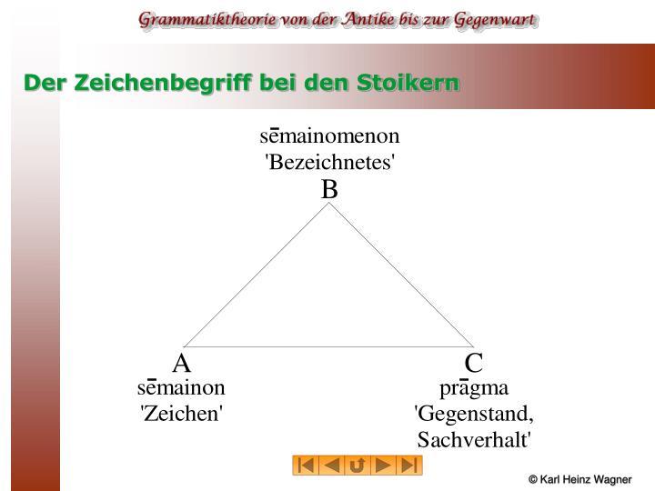 Der Zeichenbegriff bei den Stoikern