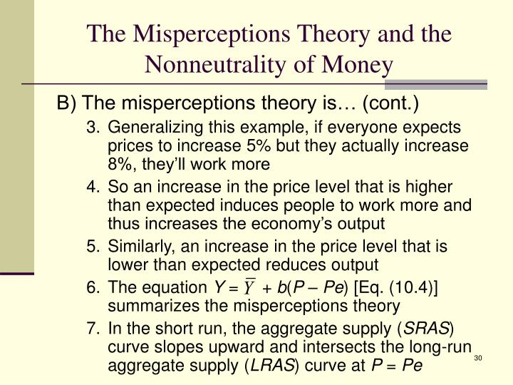 The Misperceptions Theory and the Nonneutrality of Money