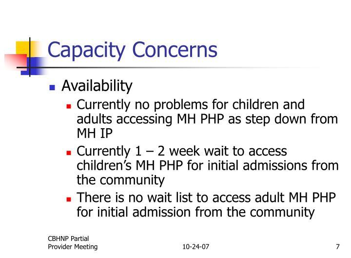 Capacity Concerns