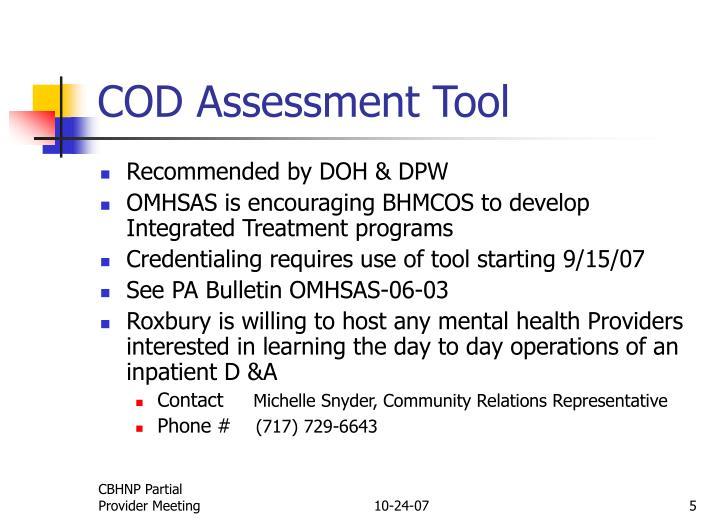 COD Assessment Tool