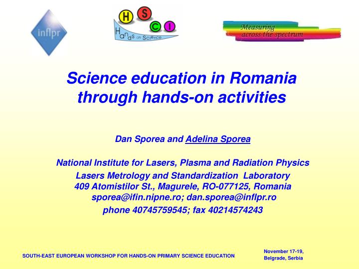 science education in romania through hands on activities n.