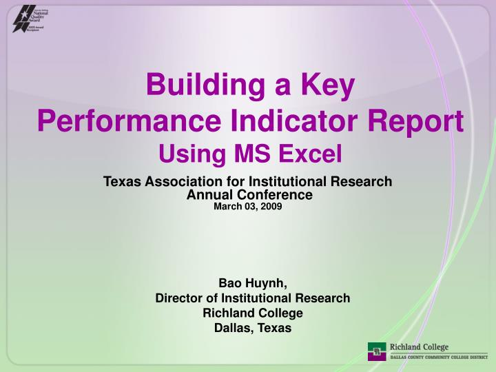 building a key performance indicator report using ms excel n.