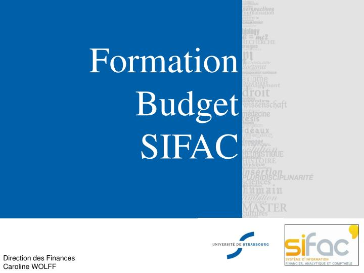 formation budget sifac n.