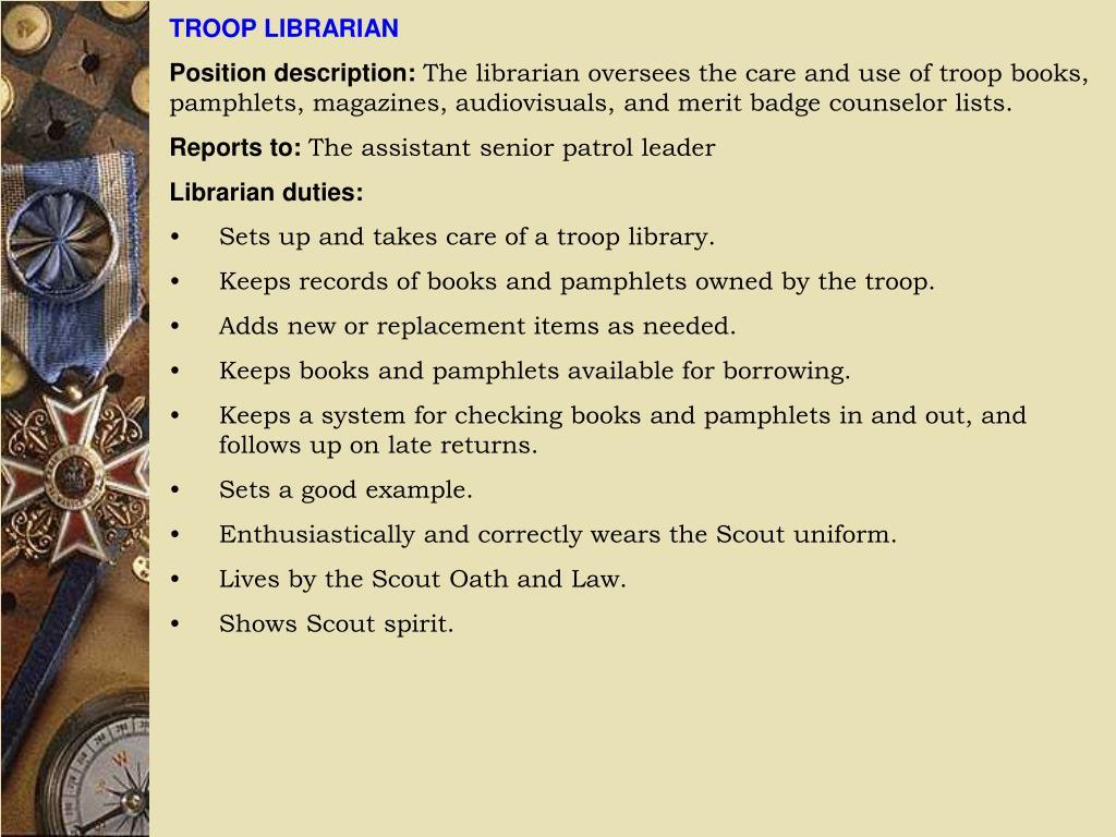 TROOP LIBRARIAN