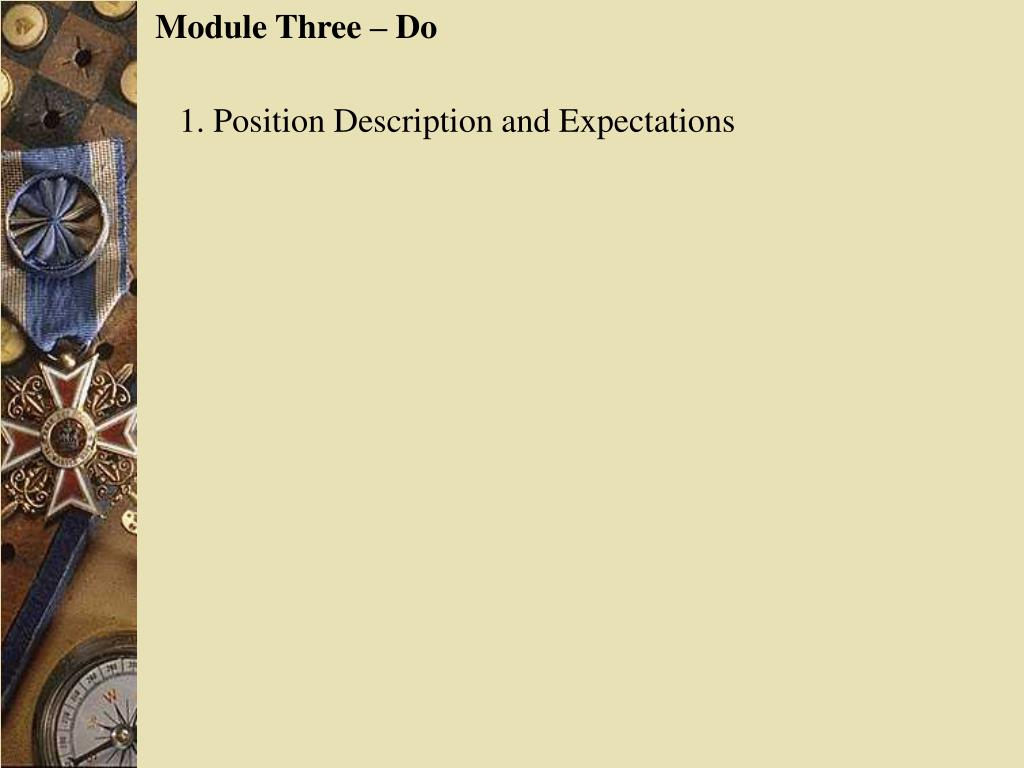 Module Three – Do