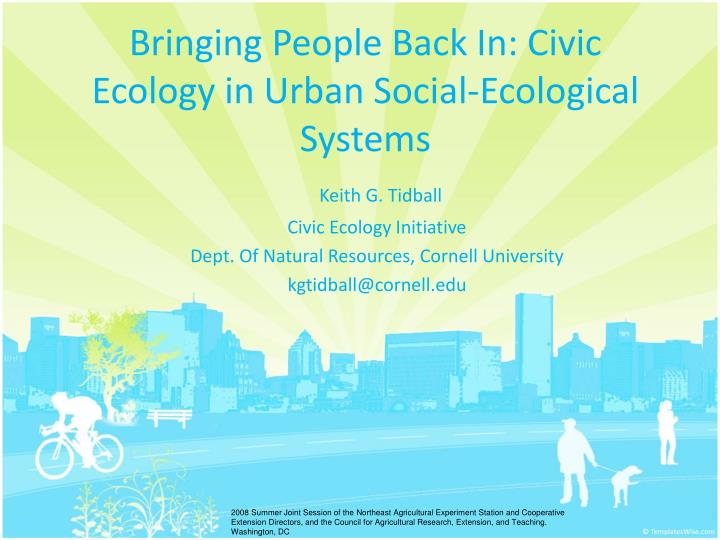 bringing people back in civic ecology in urban social ecological systems n.
