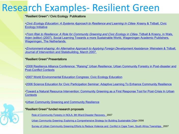 Research Examples- Resilient Green