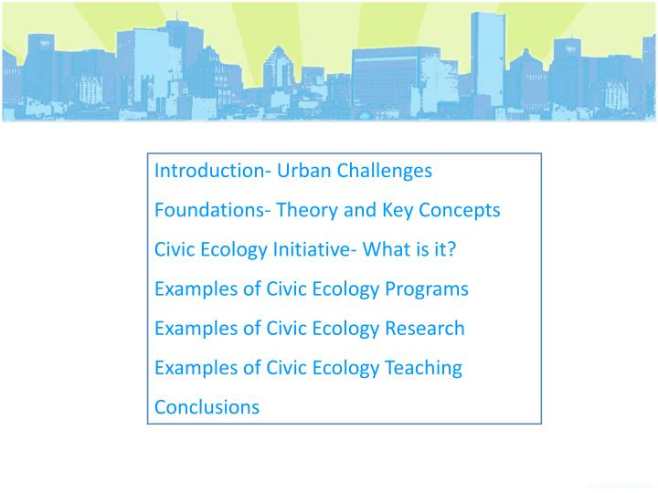 Introduction- Urban Challenges