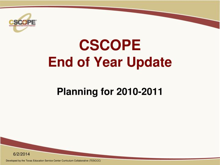 cscope end of year update n.