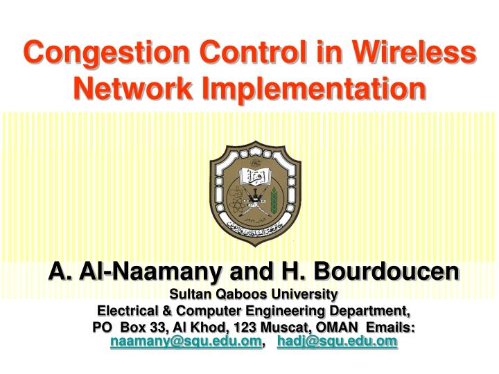 congestion control in wireless network implementation n.