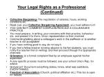 your legal rights as a professional continued