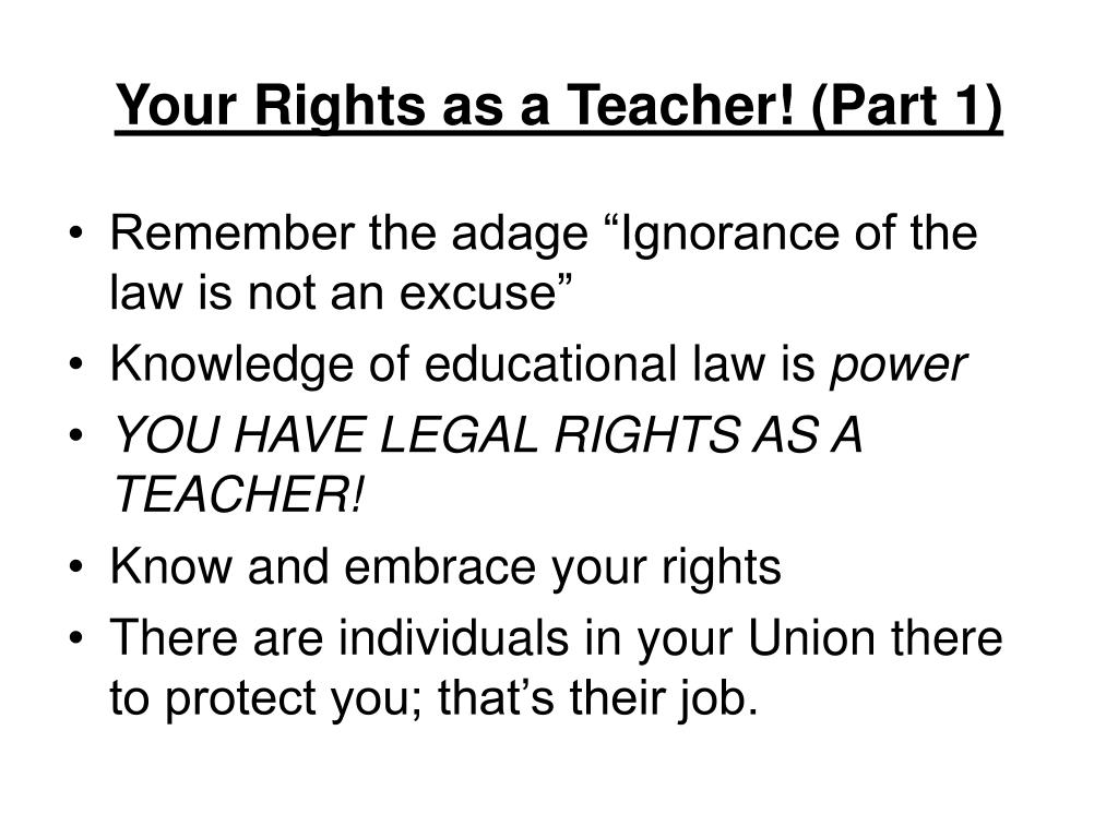Your Rights as a Teacher! (Part 1)