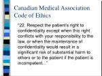 canadian medical association code of ethics