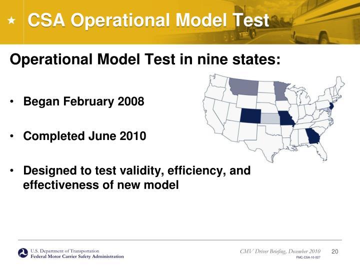 CSA Operational Model Test