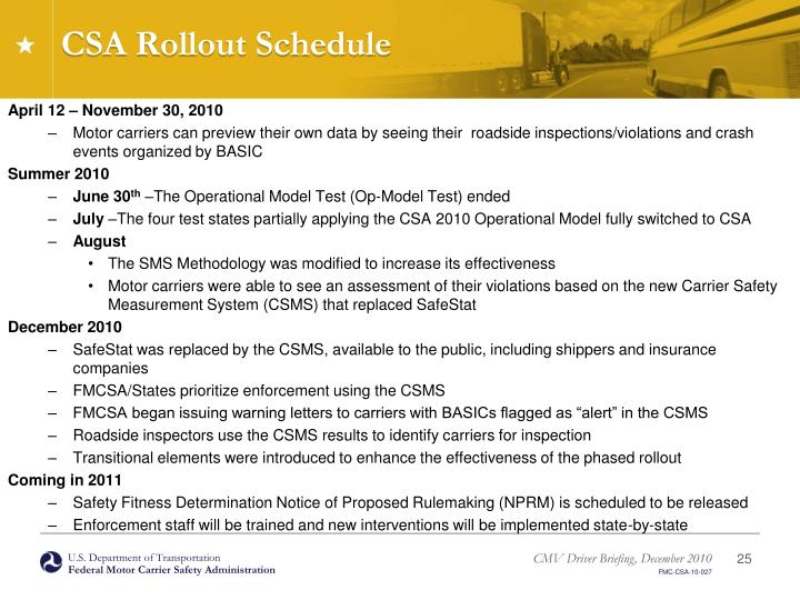 CSA Rollout Schedule