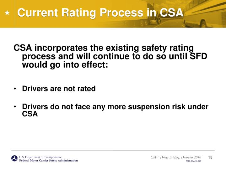 Current Rating Process in CSA