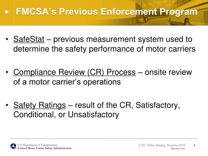 FMCSA's Previous Enforcement Program