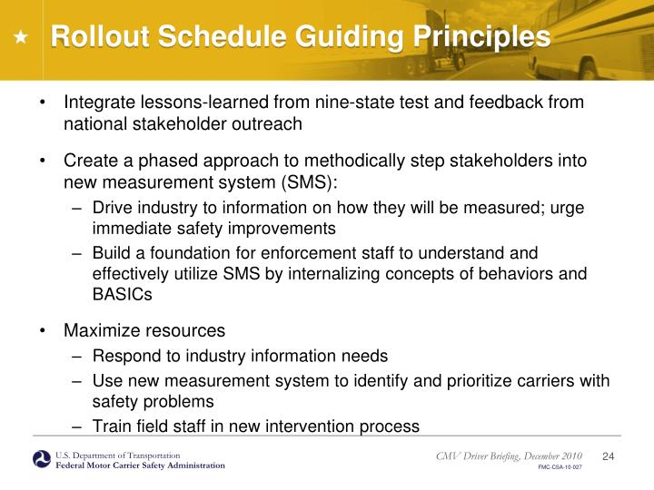 Rollout Schedule Guiding Principles
