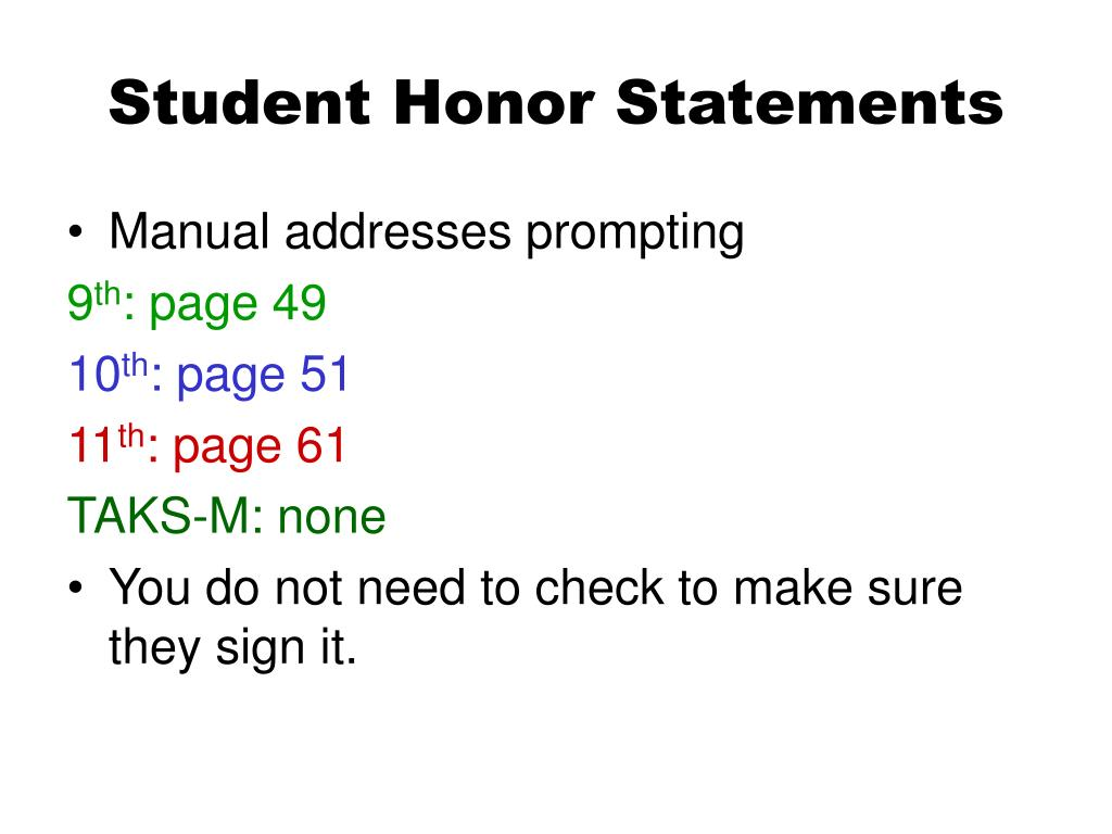 Student Honor Statements