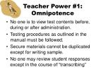 teacher power 1 omnipotence