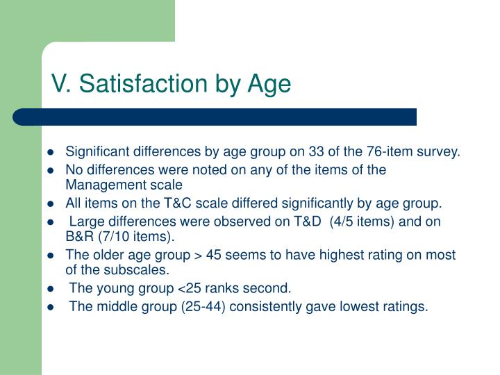 V. Satisfaction by Age