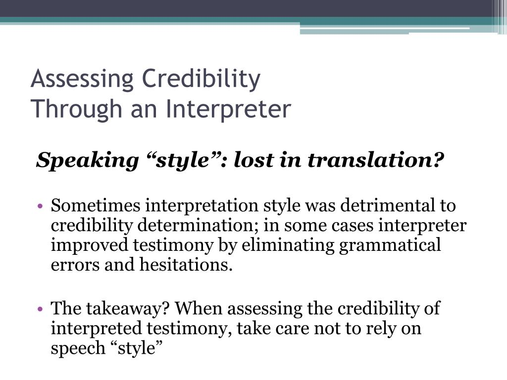Assessing Credibility