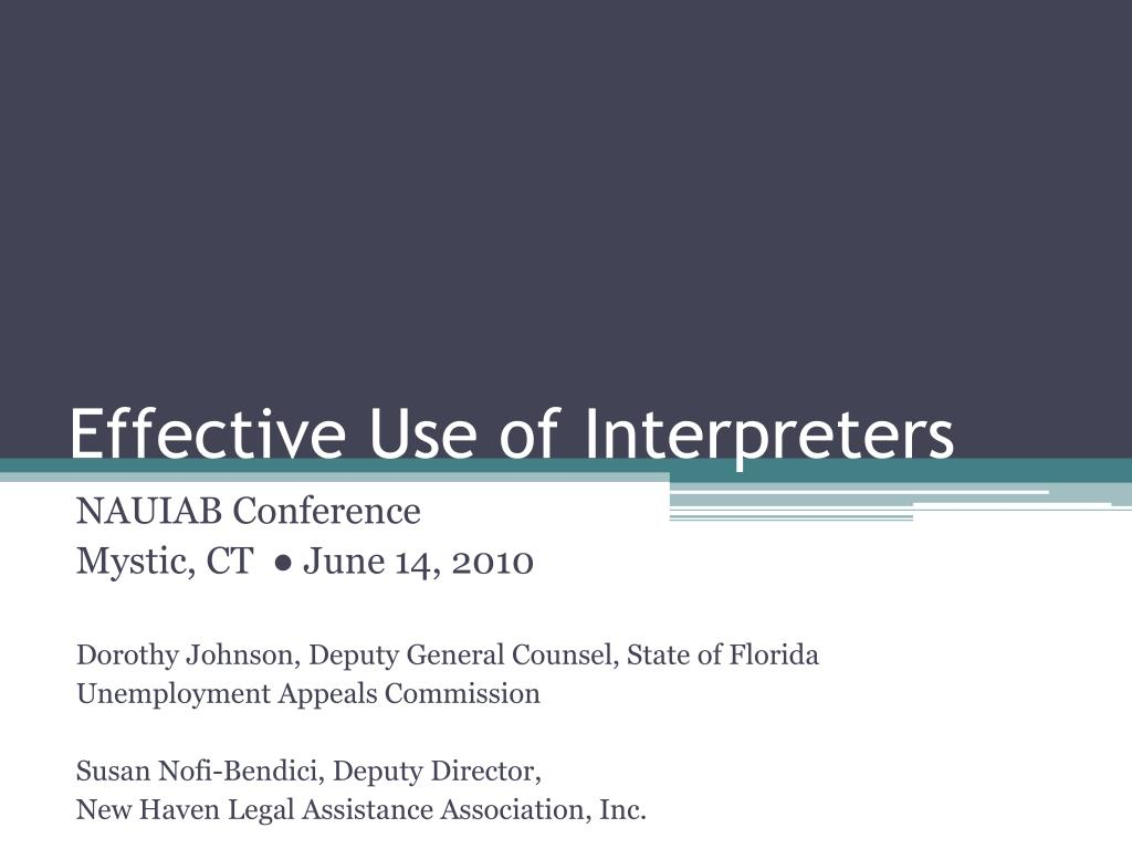 effective use of interpreters l.