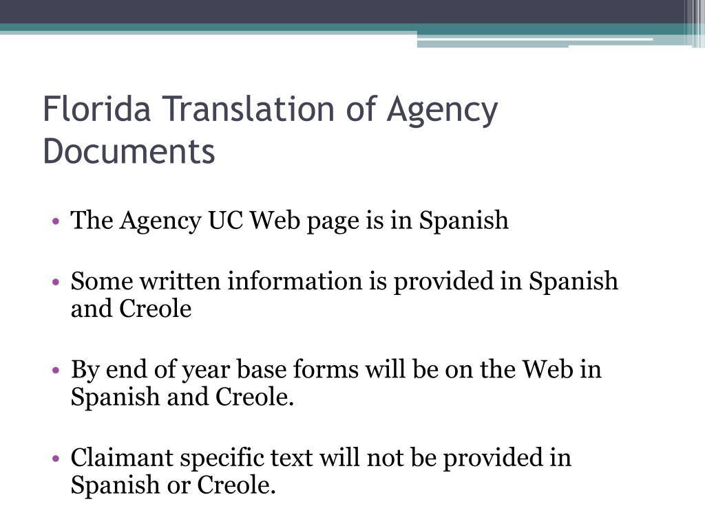 Florida Translation of Agency Documents