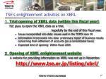 tse s enlightenment activities on xbrl