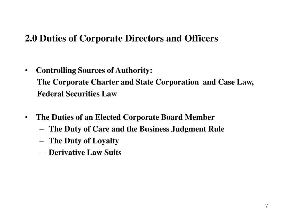 2.0 Duties of Corporate Directors and Officers