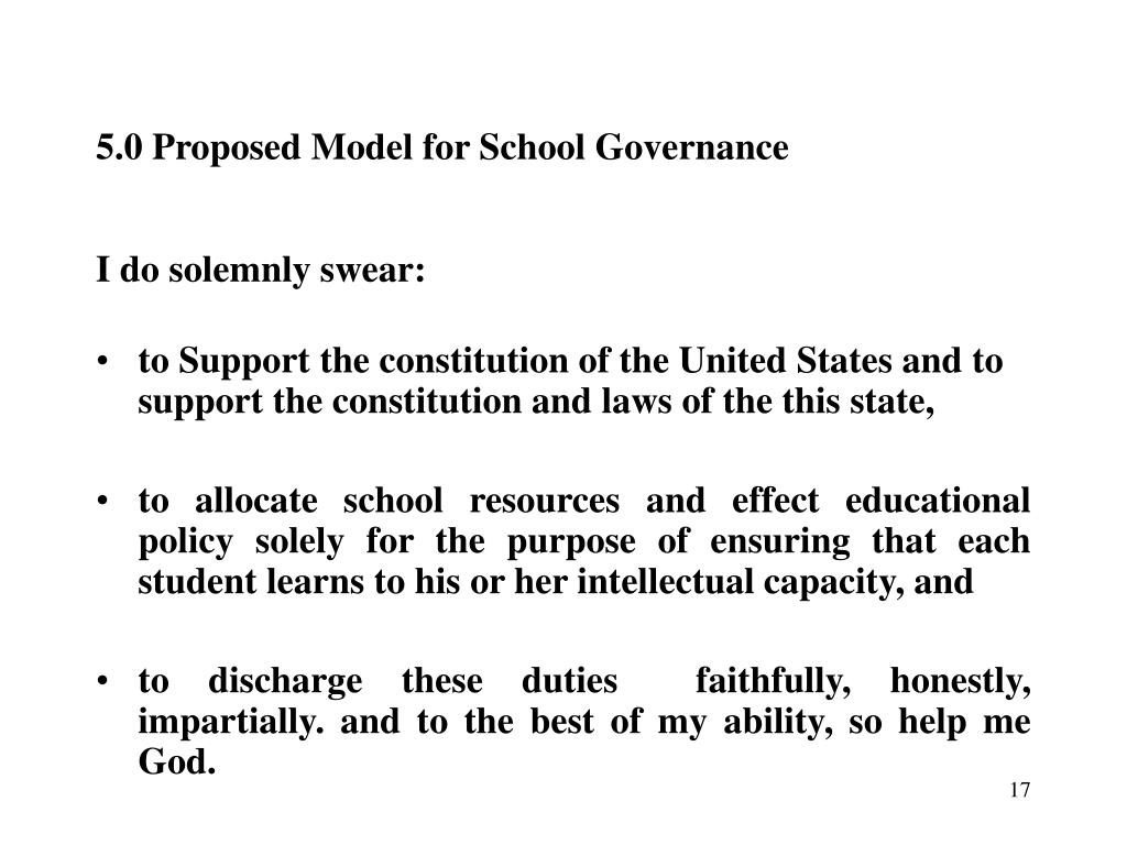 5.0 Proposed Model for School Governance