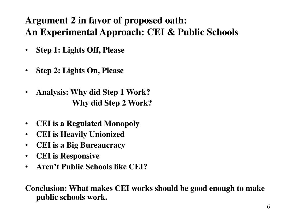 Argument 2 in favor of proposed oath: