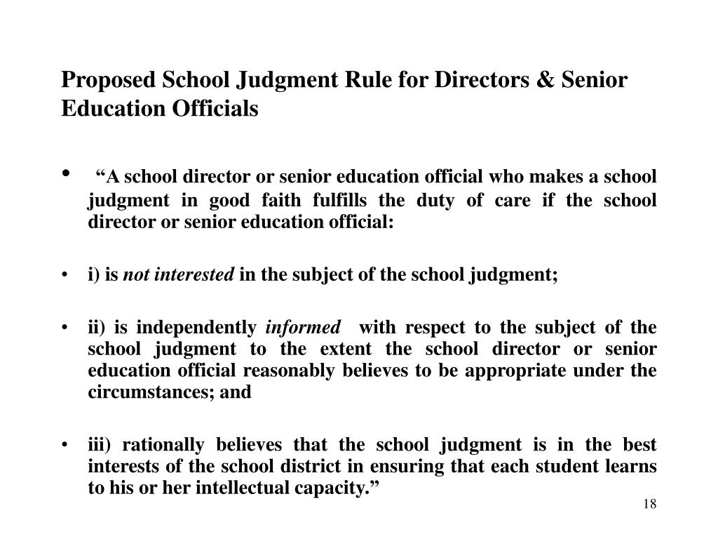 Proposed School Judgment Rule for Directors & Senior