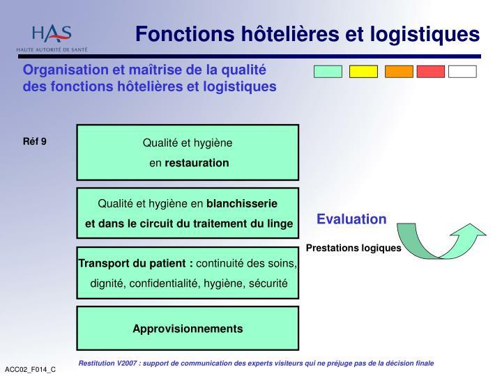 Fonctions hôtelières et logistiques