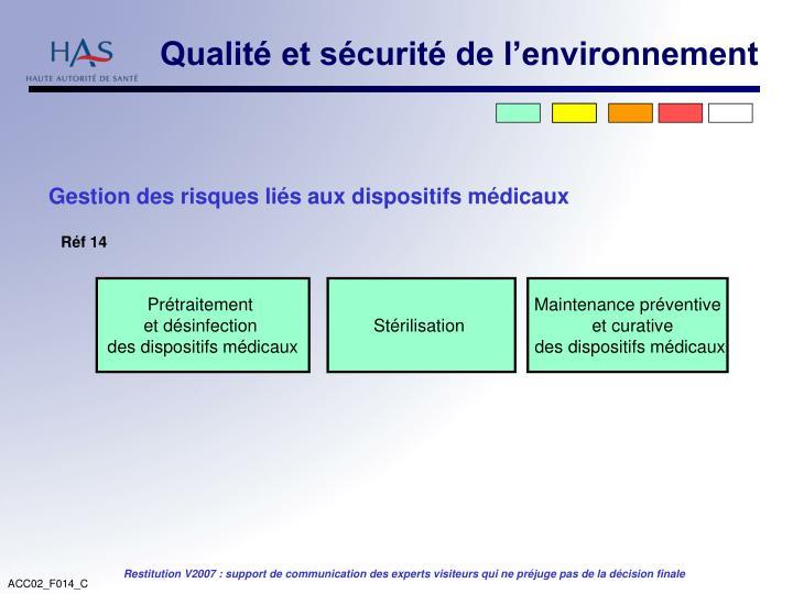 Qualité et sécurité de l'environnement