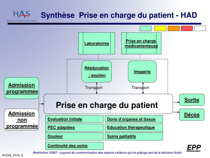 Synthèse  Prise en charge du patient - HAD