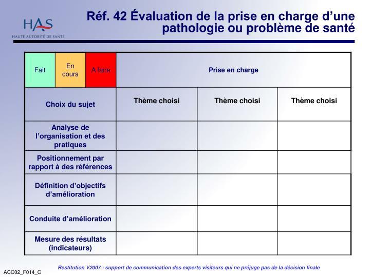 Réf. 42 Évaluation de la prise en charge d'une pathologie ou problème de santé