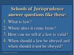 schools of jurisprudence answer questions like these