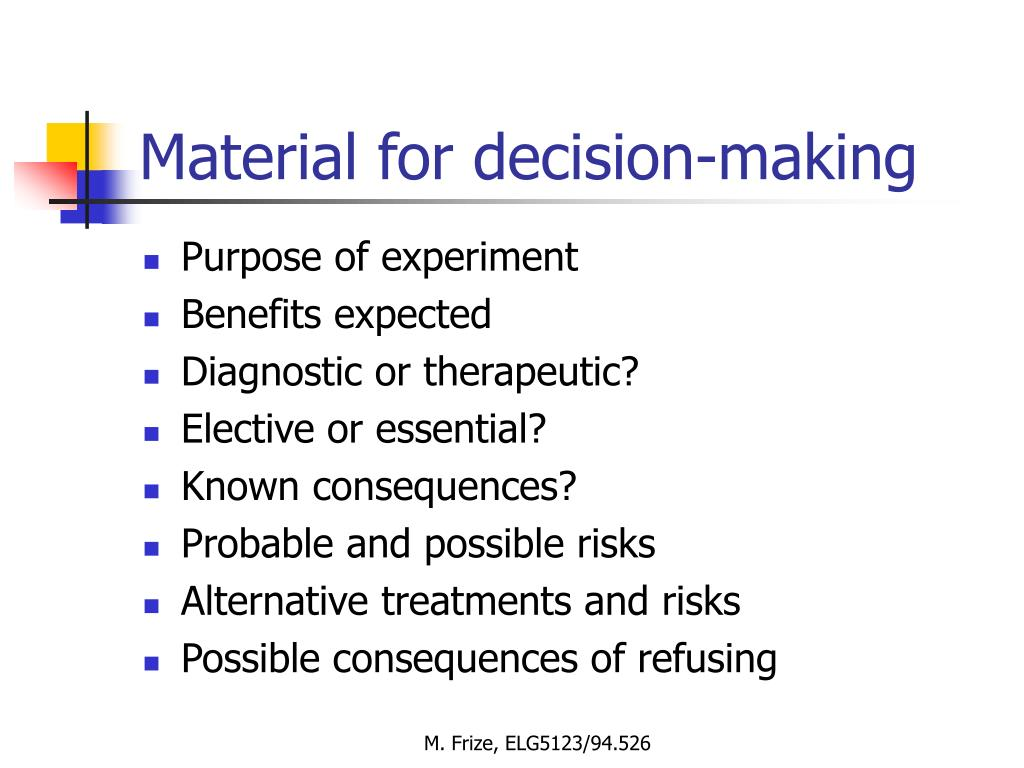 Material for decision-making