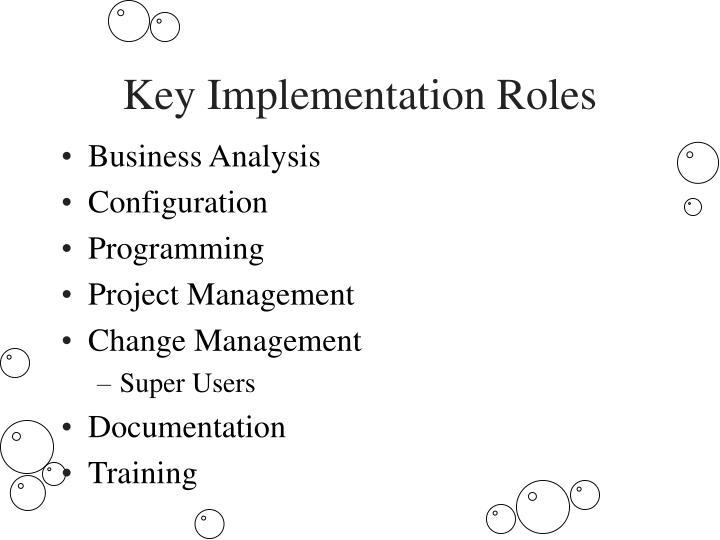 Key Implementation Roles
