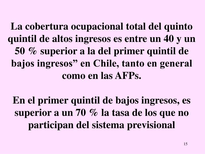 """La cobertura ocupacional total del quinto quintil de altos ingresos es entre un 40 y un 50 % superior a la del primer quintil de bajos ingresos"""" en Chile, tanto en general como en las AFPs."""