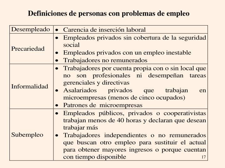 Definiciones de personas con problemas