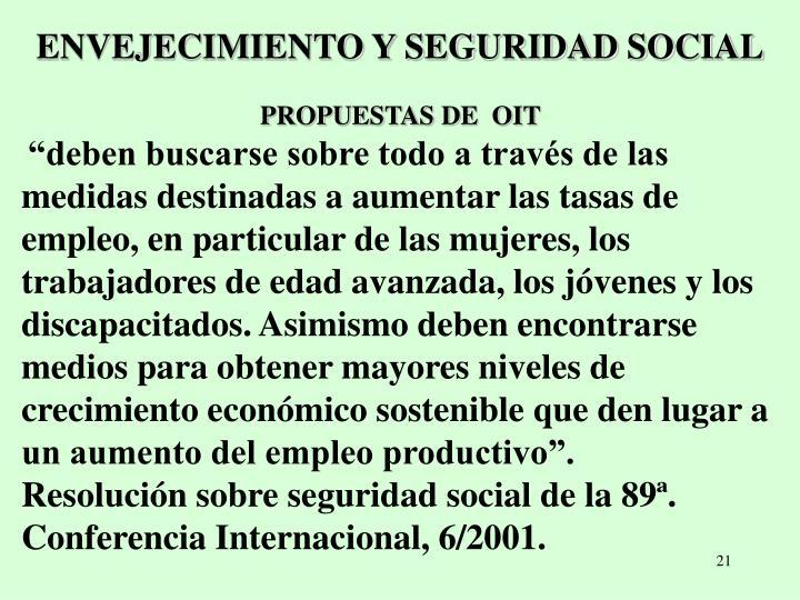 ENVEJECIMIENTO Y SEGURIDAD SOCIAL