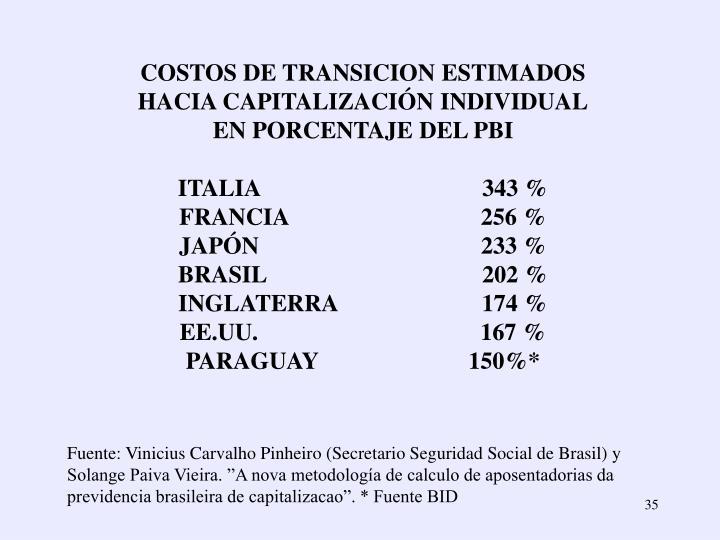 COSTOS DE TRANSICION ESTIMADOS