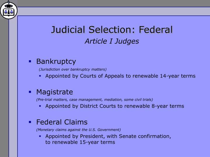Judicial Selection: Federal