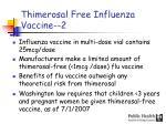 thimerosal free influenza vaccine 2