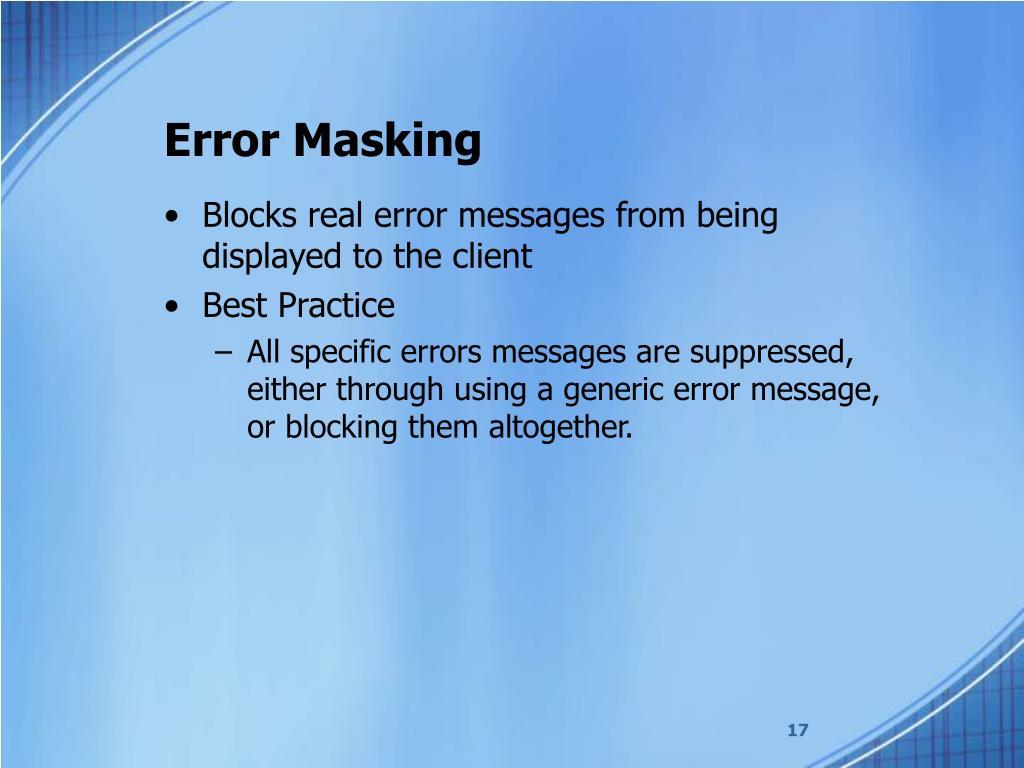 Error Masking